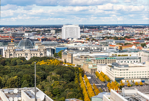 Bundestag building and Brandenburg Gate in Berlin, Germany