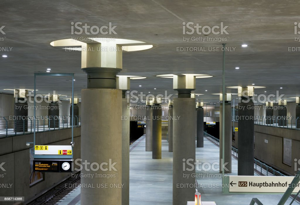 Bundestag subway station interior in Berlin stock photo