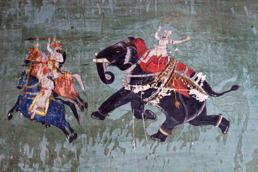 Painting From The 1700's In The Bundi Palace In Rajasthan, India