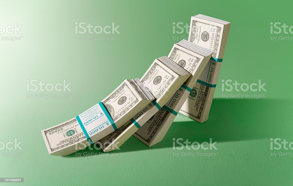 Bundle of 100 Dollar bills falling down stock photo