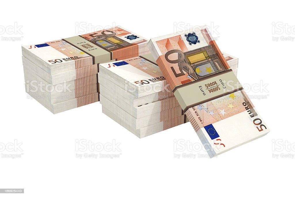 Bundle of 50 Euro banknotes royalty-free stock photo