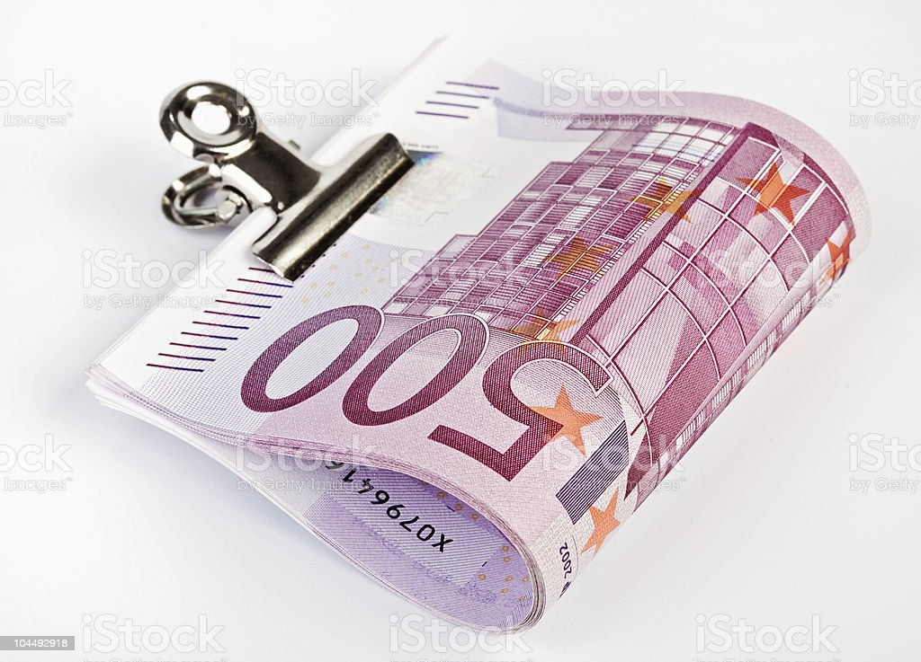 Bundle of 500 Euro bank notes fasten with paper clip royalty-free stock photo