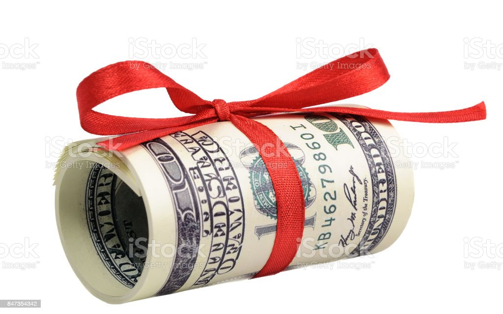bundle of bills of one hundred dollars tied with a red ribbon