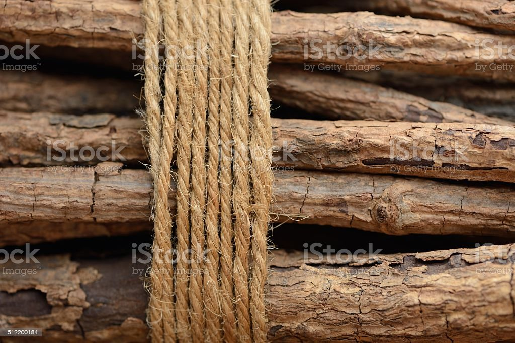 bundle of branches tide with a rope as background stock photo