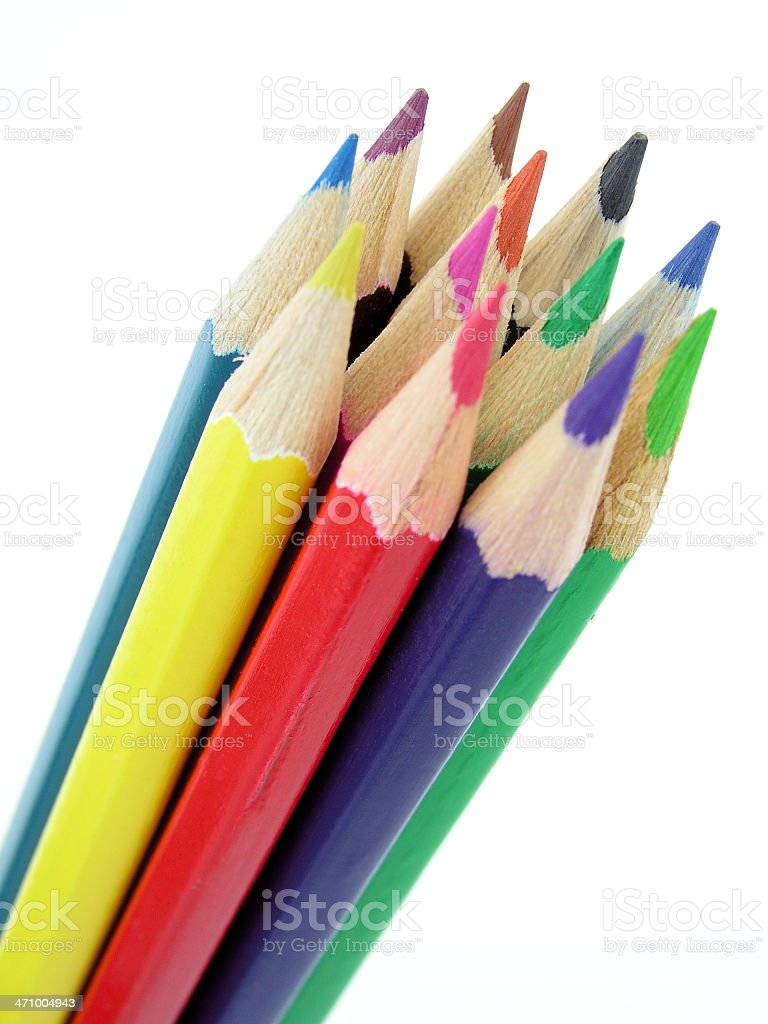 Bundle of colored pencils on a white background royalty-free stock photo