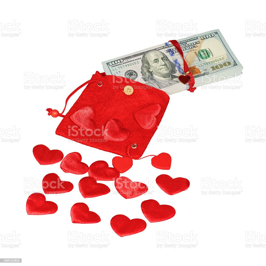 Bundle of dollars in red pouch stock photo