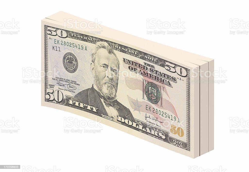 Bundle of fifty dollar bills stock photo