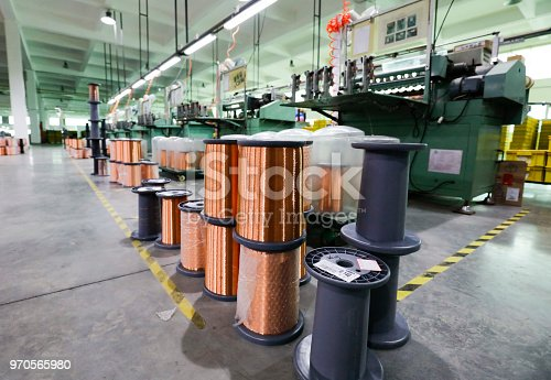 istock A bundle of fine copper wire material used for making engines. 970565980