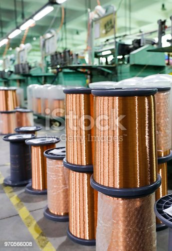 istock A bundle of fine copper wire material used for making engines. 970566008