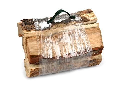 Bundle of Firewood Isolated on White.