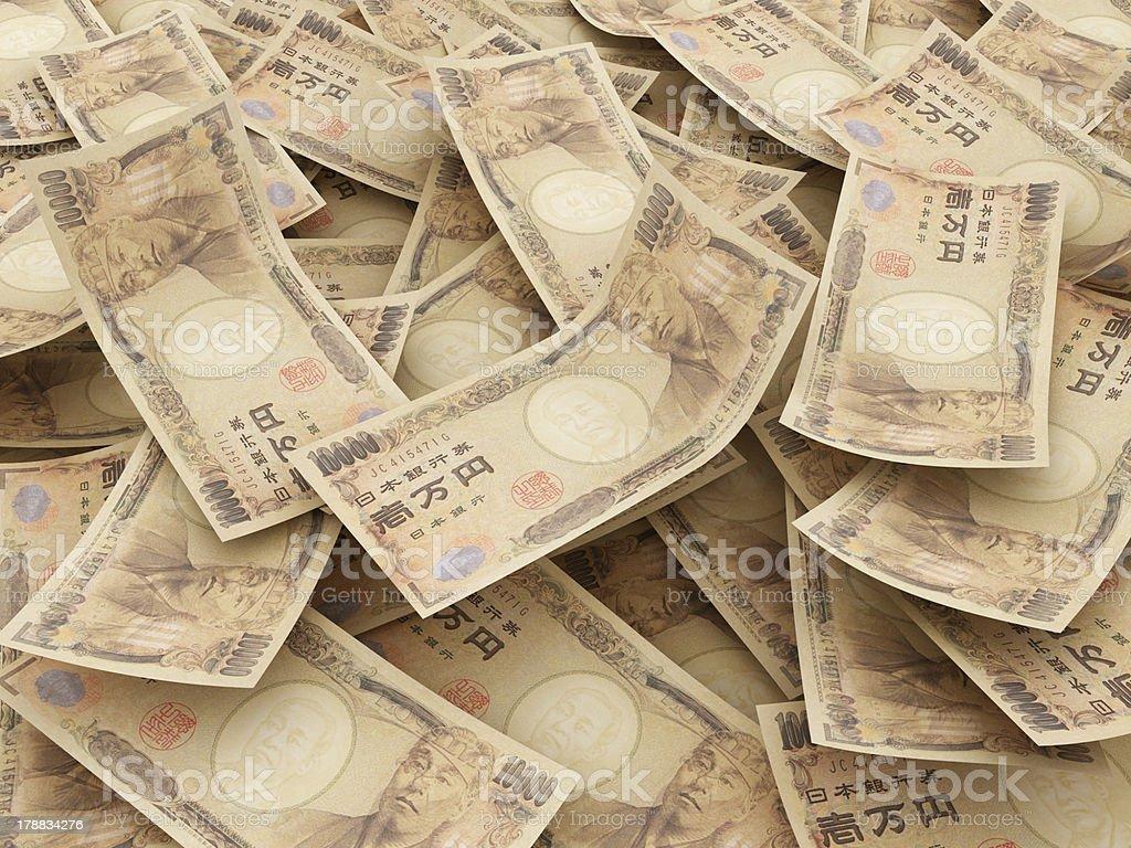 Bundle of Japanese Yen notes stock photo