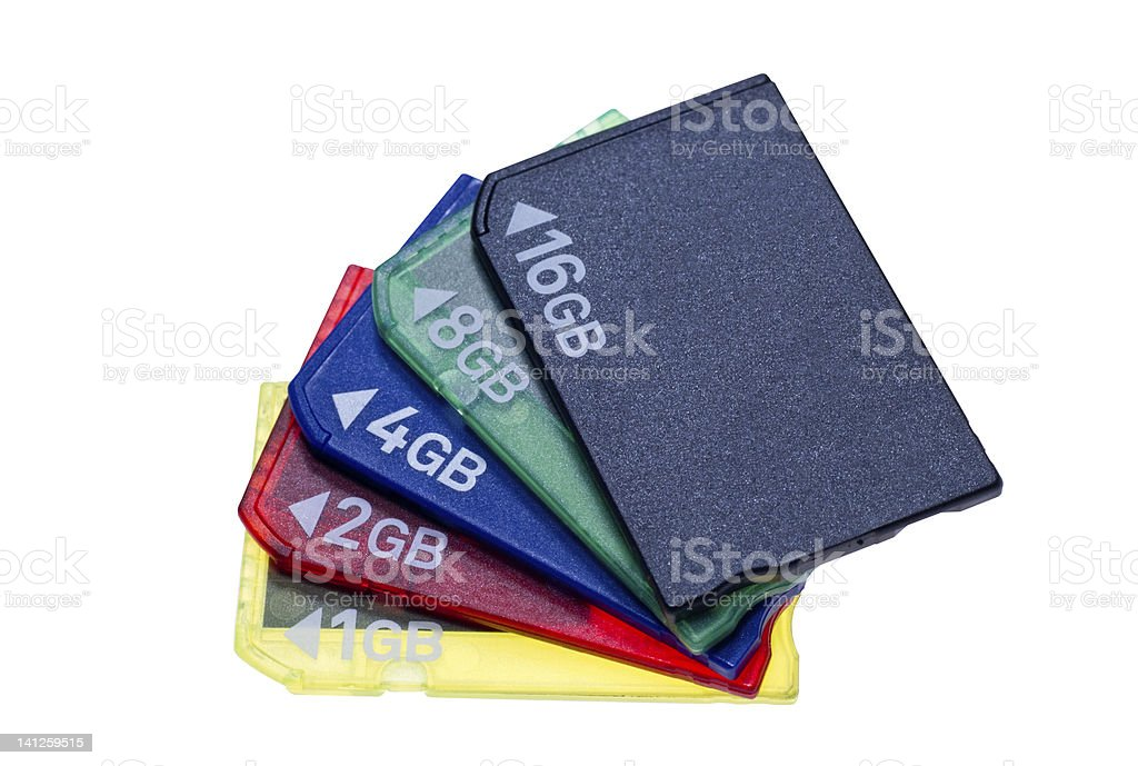 Bundle of memory stick pro duo card royalty-free stock photo