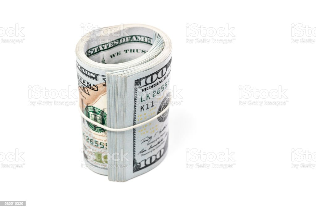 Bundle of money tied up with rubber foto stock royalty-free