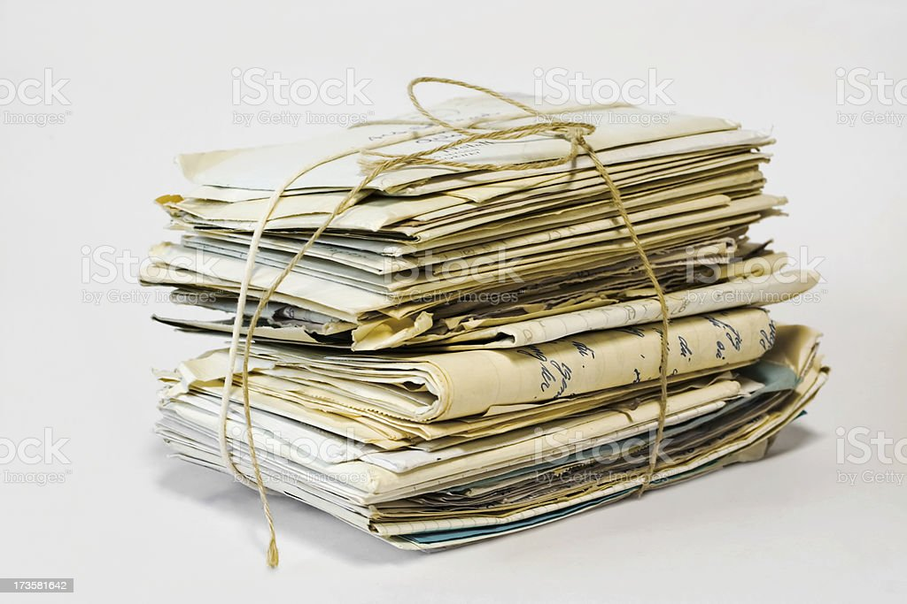Bundle of old letters with string. royalty-free stock photo