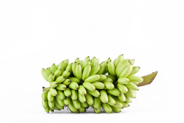 Bündel von rohem Ei Bananen auf weißem Hintergrund gesundes Pisang Mas Banane Frucht essen isoliert – Foto