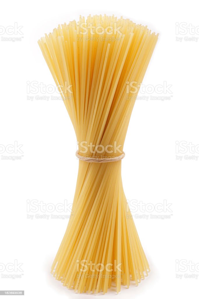 Bundle of spaghetti twisted together stock photo