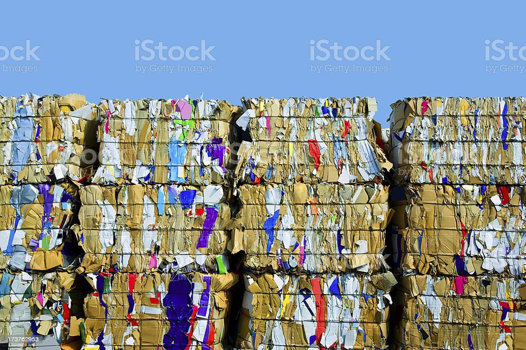 Bundled Cardboard For Recycling stock photo