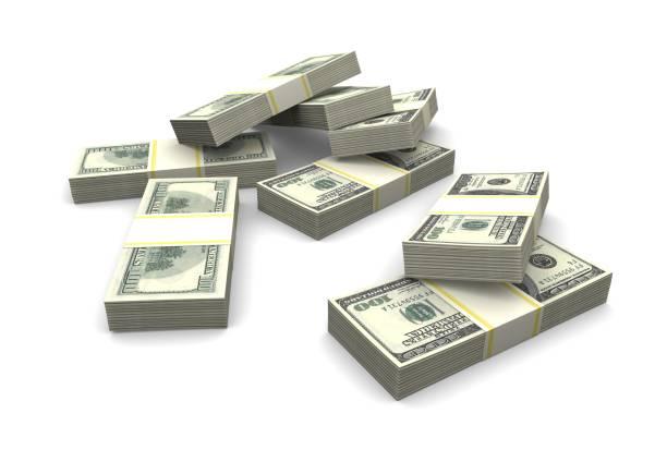 Bündel von hundert-Dollar-Banknoten auf einem weißen Hintergrund. – Foto