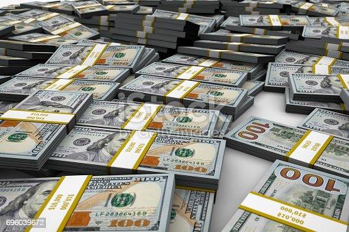 istock Bundles of New One Hundred Dollar Bill Mound 10000 696039672
