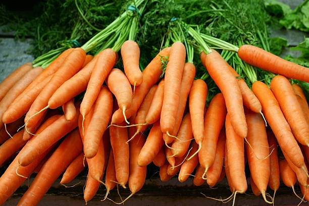Bundles of organic carrots with the stems still attached Bunches of organic carrots on a farmer market. Shallow depth of field. carrot stock pictures, royalty-free photos & images