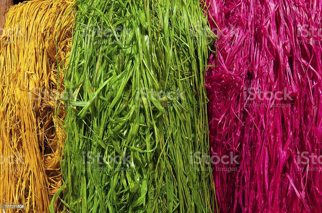 Bundles of rafia stock photo