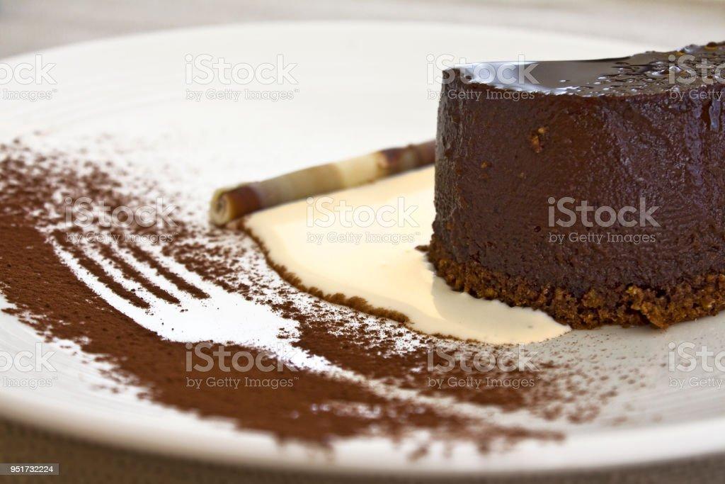 Bunet, italian chocolate dessert stock photo