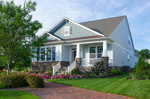 bungalow and arts and crafts style home - bungalow stock photos and pictures