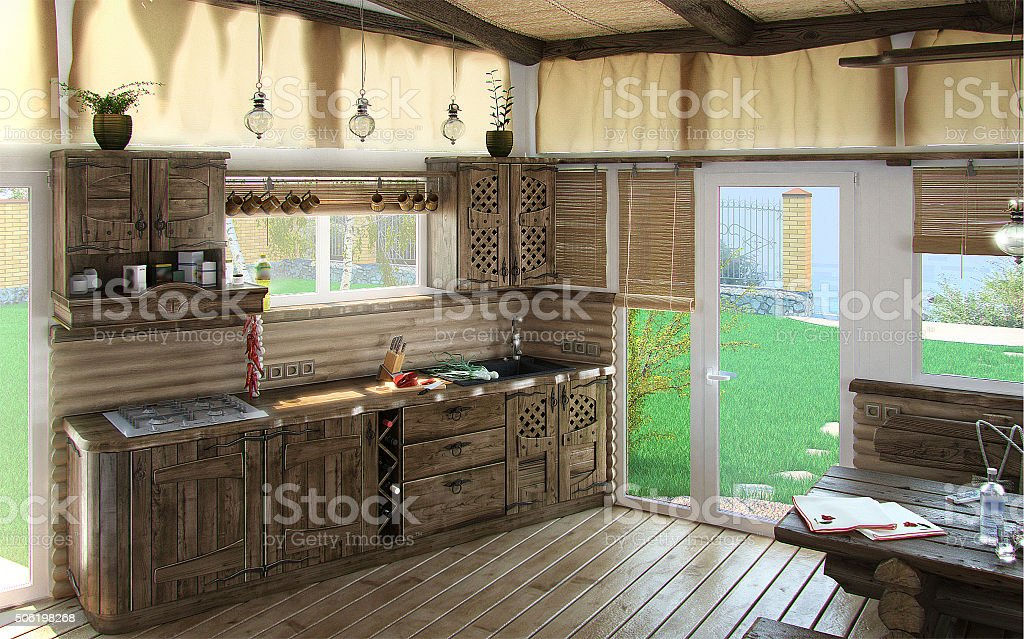 Bungalow central living area, 3d render stock photo