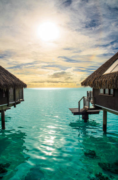 Bungalow heaven on Moorea Island Moorea is one of the most scenically striking islands in French Polynesia. Colorful, flowered and radiant, the island of Moorea is a pleasure for all the senses. South Pacific Ocean. south pacific ocean stock pictures, royalty-free photos & images
