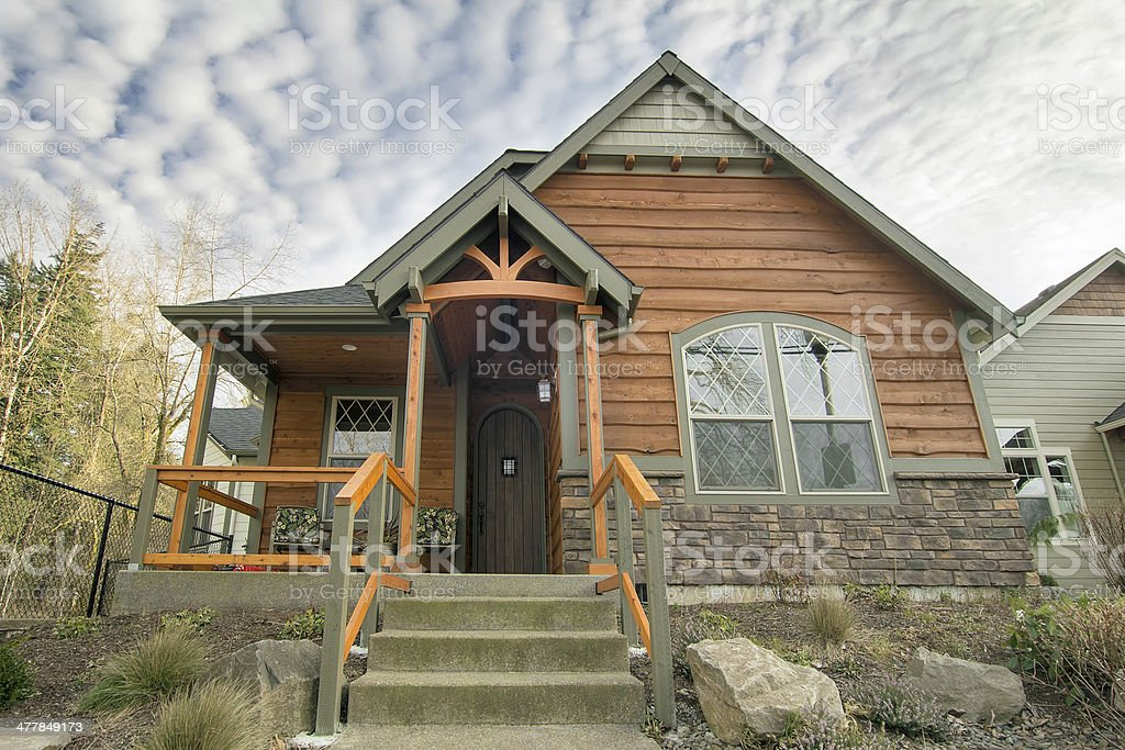 Bungalow House with Front Covered Porch stock photo