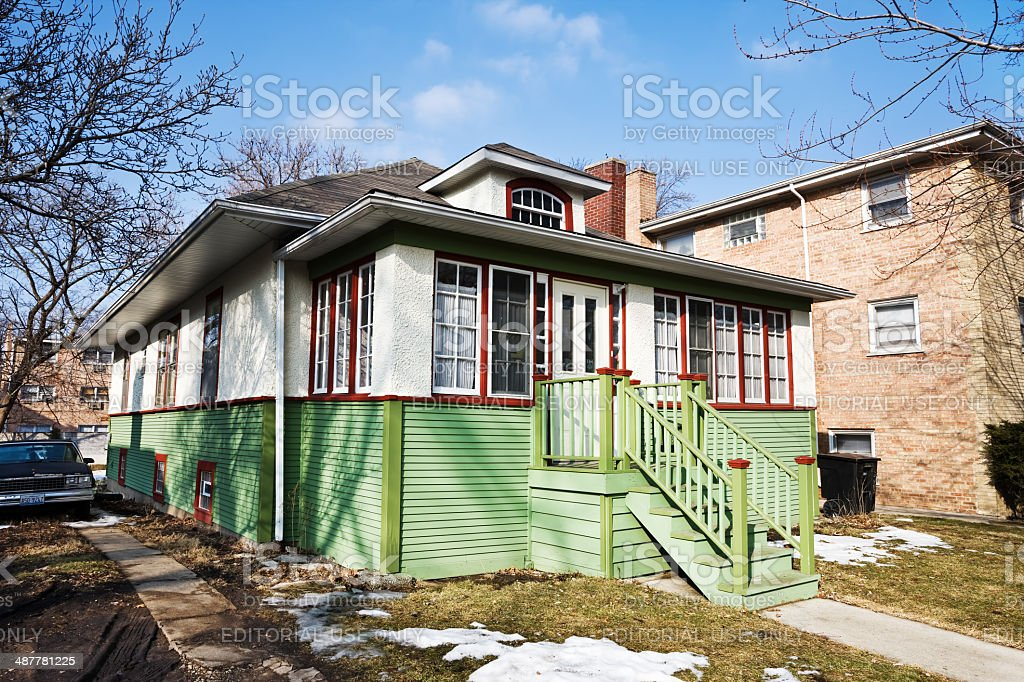 Bungalow in Beverly, Chicago royalty-free stock photo