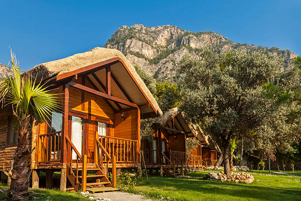 Bungalow bungalow resort in a mountain Kabak Bay - Turkey bungalow stock pictures, royalty-free photos & images