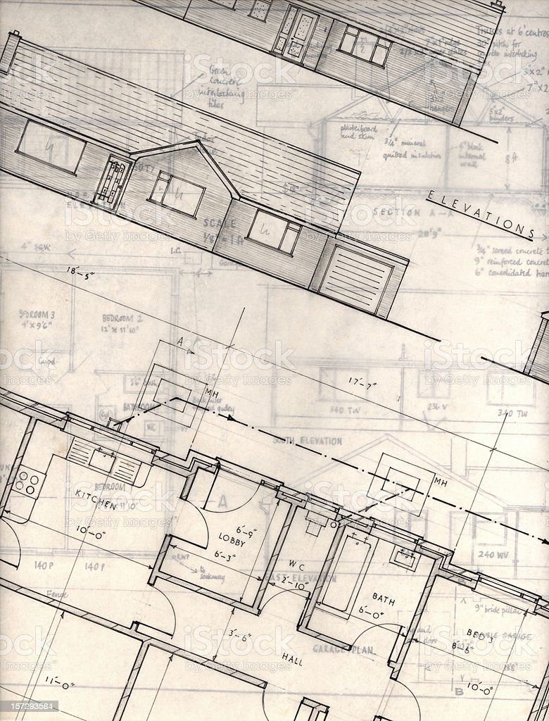 bungalow plans royalty-free stock photo