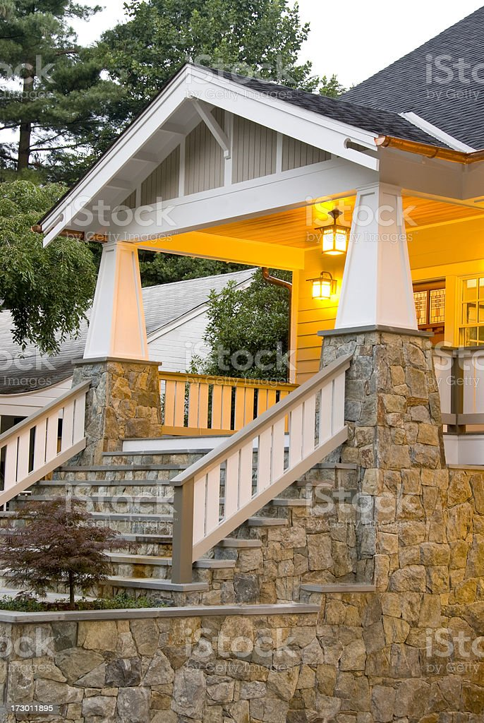 Bungalow stone front entrance royalty-free stock photo