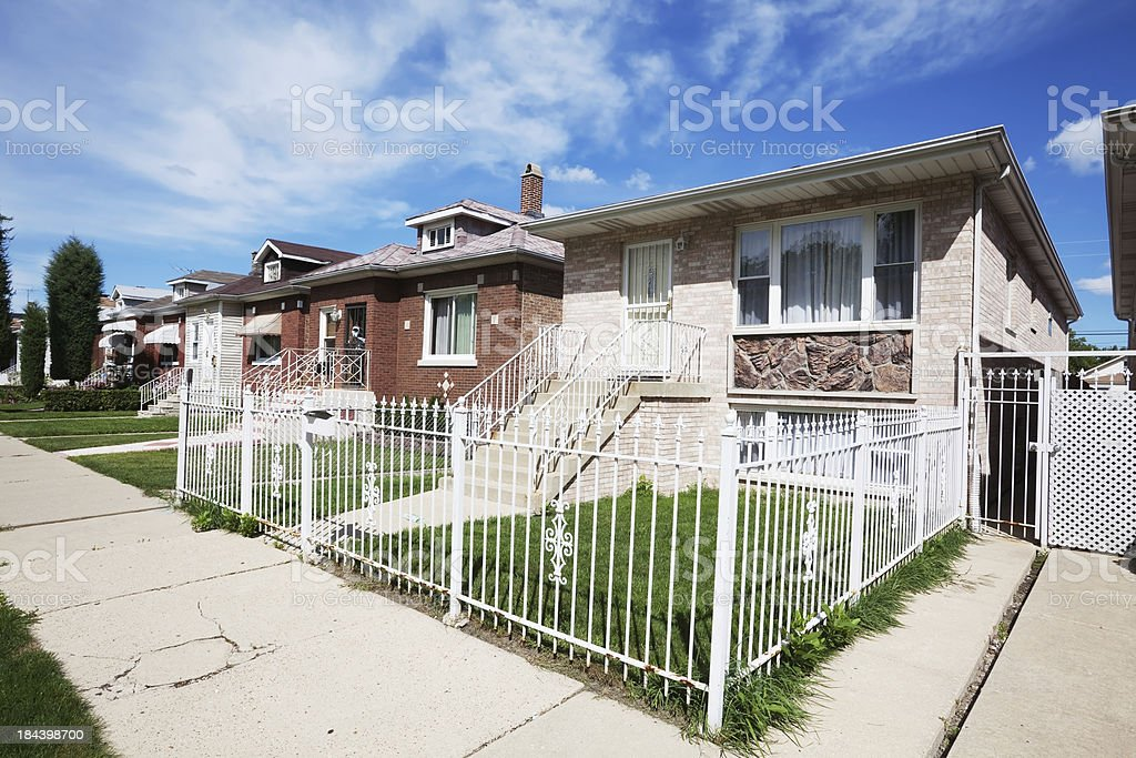 Bungalows and Single Family House in Montclare, Chicago royalty-free stock photo