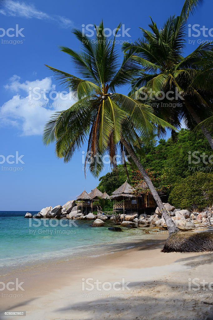 Bungalows hut on a tropical beach, Koh Tao, Thailand stock photo