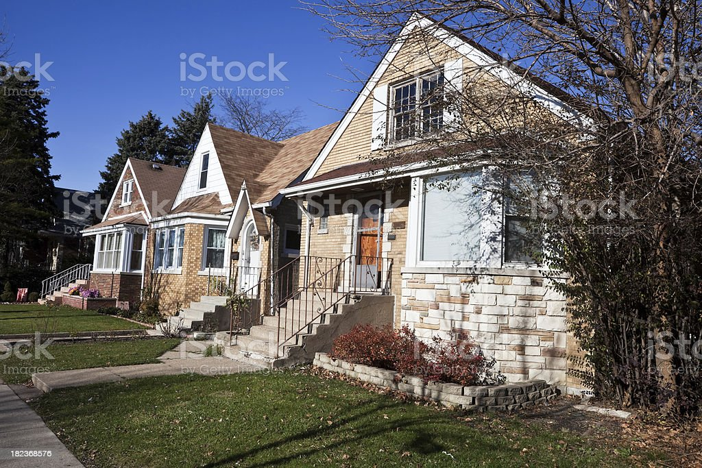 Bungalows in a Chicago Neighborhood royalty-free stock photo
