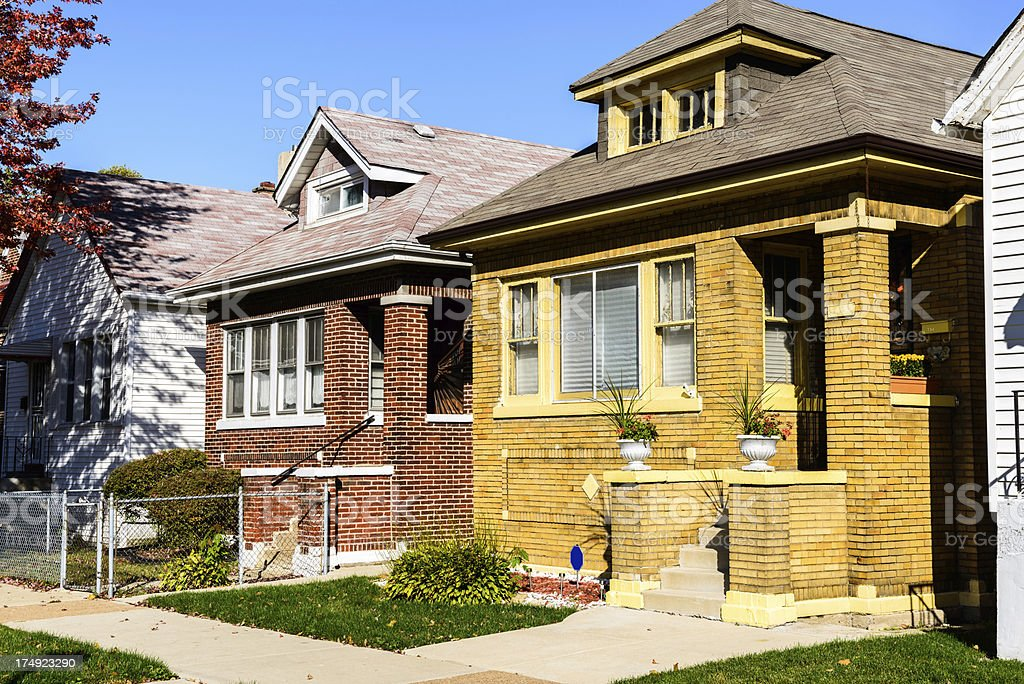 Bungalows in Calumet Heights, Chicago royalty-free stock photo