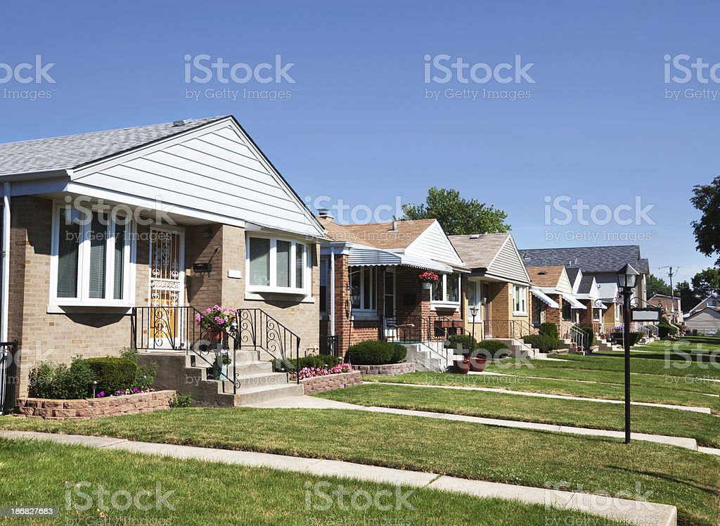Bungalows in Edison Park, Chicago royalty-free stock photo