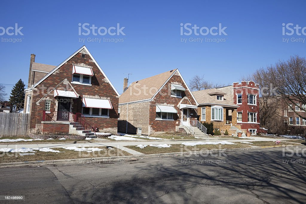 Bungalows in Gage Park, Chicago royalty-free stock photo