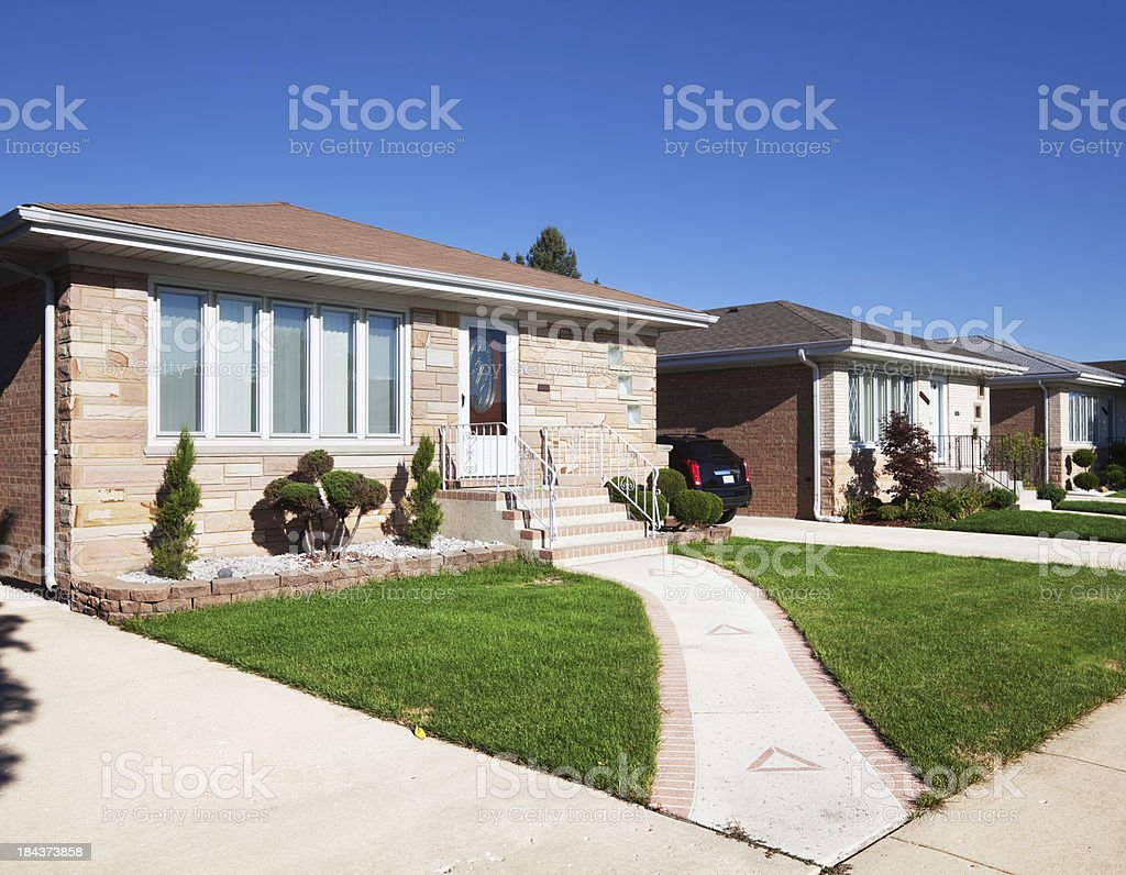 Bungalows in OHare, Chicago royalty-free stock photo