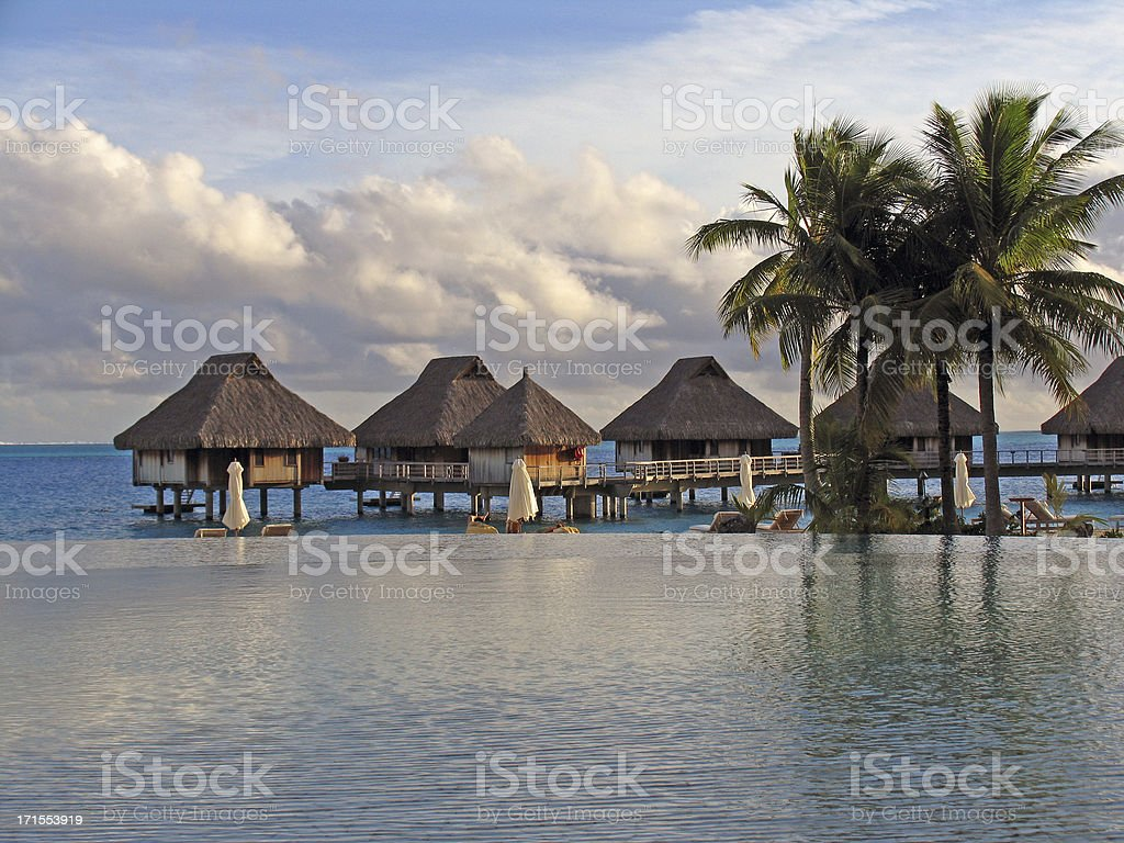 bungalows in paradise royalty-free stock photo