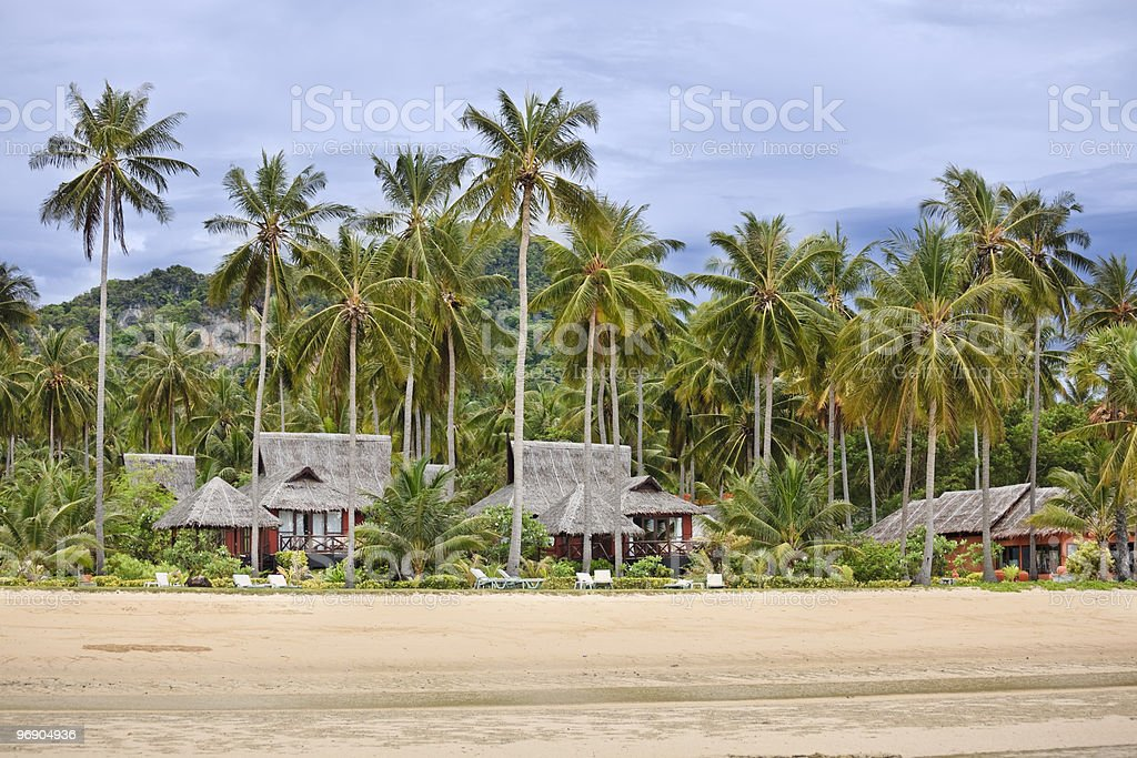 Bungalows on a tropical beach. royalty-free stock photo