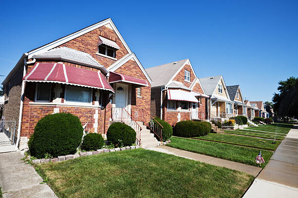 Bungalows with Awnings in Garfield Ridge, Chicago stock photo