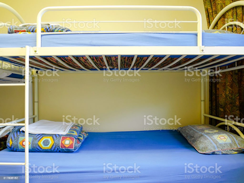 Bunk beds at the hostel stock photo