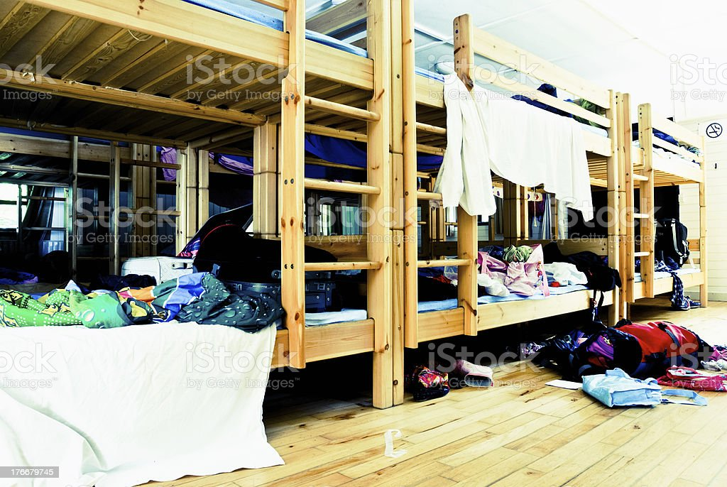 Bunkbeds in a messy dorm room royalty-free stock photo