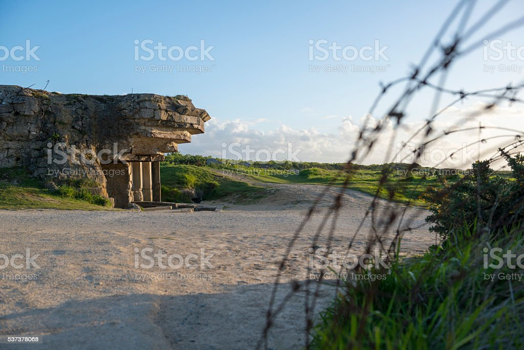 WWII bunker at Pointe du Hoc, Normandy stock photo