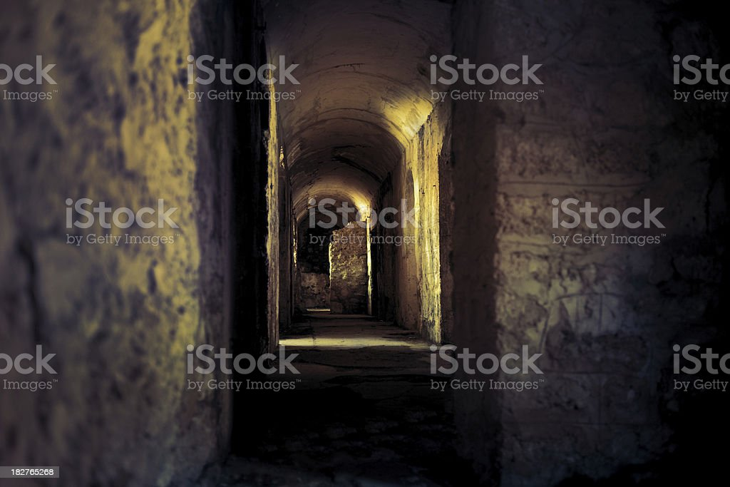 WWI bunker in the European Alps stock photo