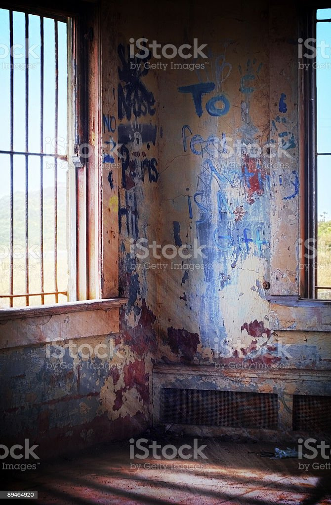 Bunker Interior with Graffiti - Light Rays royalty-free stock photo