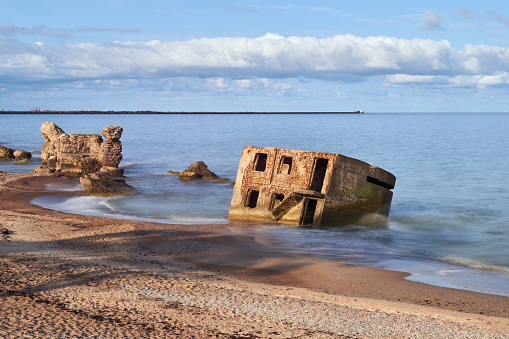 Bunker ruins near the Baltic Sea beach, part of the old fortress in the former Soviet Union base